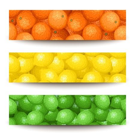 Drie vector banners met citrusvruchten. Vector Illustratie