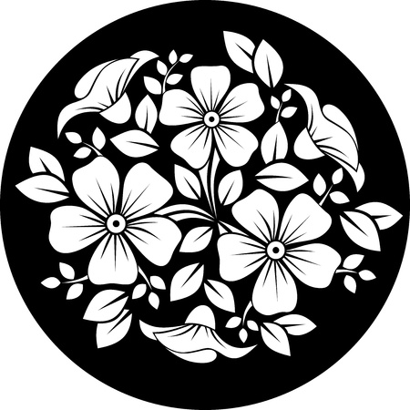 White flower ornament on a black background illustration