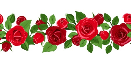 Horizontale nahtlose Hintergrund mit roten Rosen. Vektor-Illustration. Standard-Bild - 20140578