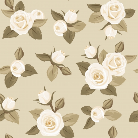 ivory: Vector seamless pattern with white roses on beige.
