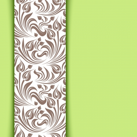 Green  card with floral pattern.  Vector
