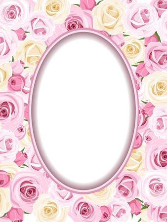 Le cadre de cru avec des roses et roses blanches illustration Banque d'images - 20140653