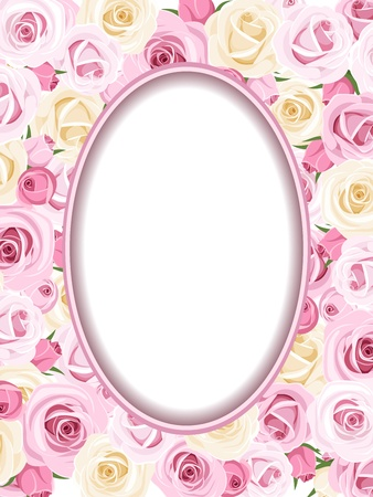 english rose: Vintage frame with pink and white roses illustration