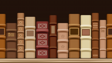 books on shelf: Horizontal seamless background with old books.  illustration.