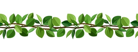 Seamless background with green leaves illustration Stock Vector - 20332282