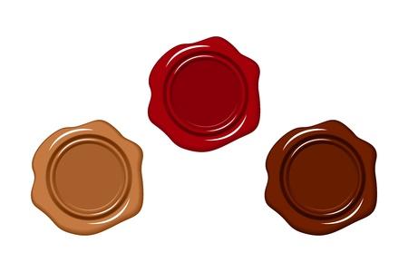 Tre sigilli di cera illustrazione. Vettoriali