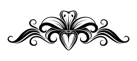 ユリの花のイラストの黒いシルエット。