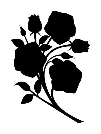 stencil flower: Black silhouette of roses branch illustration.
