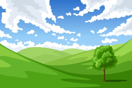 Summer landscape illustration  Illustration