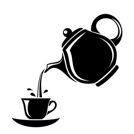 瀬戸物: ティーポットとカップのイラストの黒いシルエット