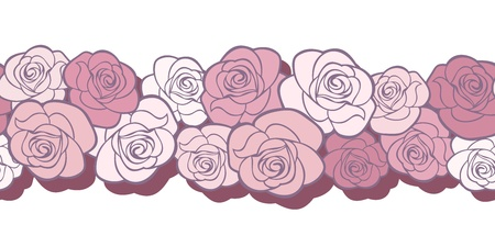 Horizontal seamless background with roses  Vector illustration  Vector