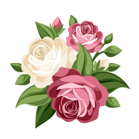 Pink and white vintage roses  Vector illustration  向量圖像
