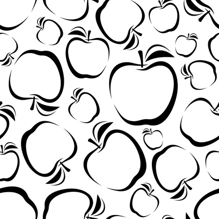 sketch pattern: Seamless background with apples silhouettes  Vector illustration