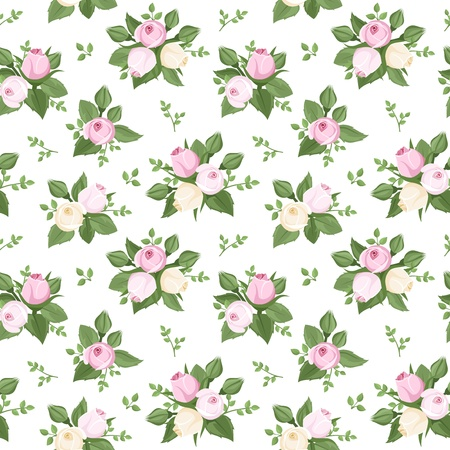Vector seamless pattern with rose buds and leaves on white