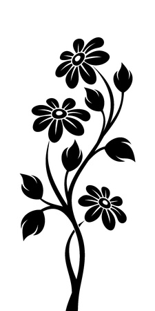 Black silhouette of branch with flowers  Vector illustration