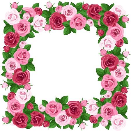 flower border: Frame with red and pink roses  Vector illustration  Illustration