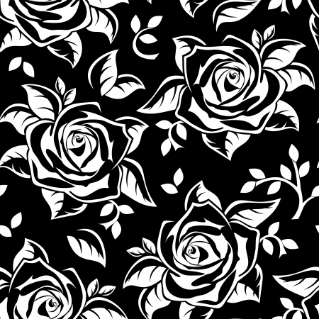 flower close up: Seamless pattern with white silhouettes of roses on black  Vector illustration  Illustration
