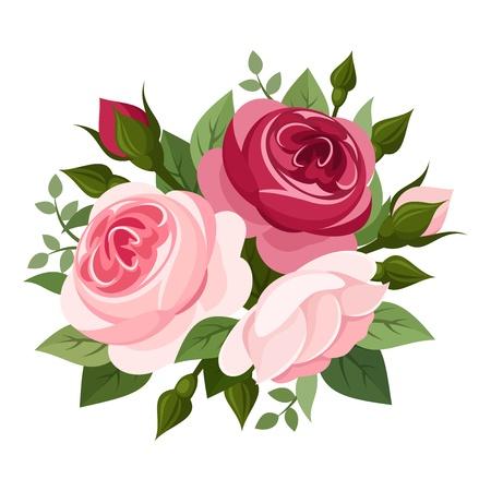 Rojo y rosas de color rosa ilustración vectorial Foto de archivo - 20960692