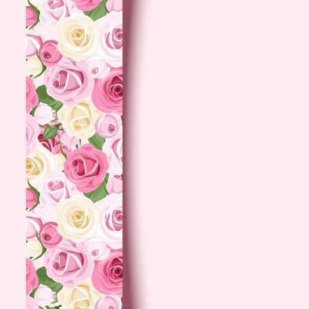 tea rose: Vector pink card with roses