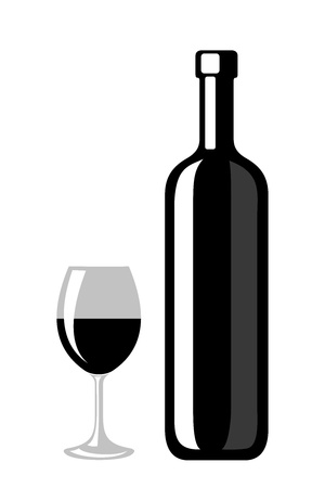 white wine glass: Black silhouette of wine bottle and glass  Vector illustration  Illustration