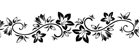 Horizontal seamless vignette with flowers  Vector illustration