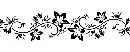 whorl: Horizontal seamless vignette with flowers  Vector illustration
