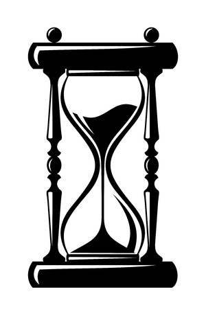 ticking: Hourglass  Vector black silhouette  Illustration