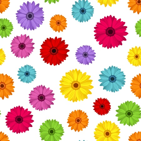 Seamless background with colored gerbera  Vector illustration  Vector