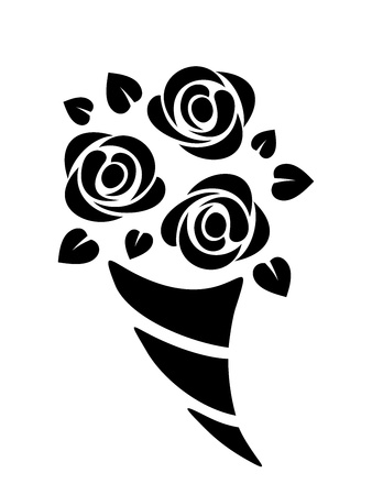 posy: Black silhouette of roses bouquet  Vector illustration  Illustration