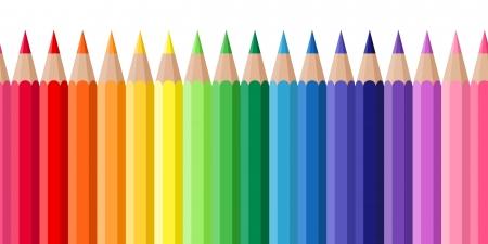 Sfondo senza soluzione di continuità orizzontale con matite colorate illustrazione vettoriale Archivio Fotografico - 20960792
