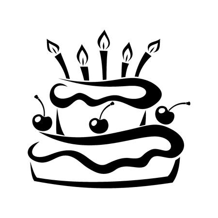 tarte aux cerises: Silhouette noire de g�teau d'anniversaire Vector illustration