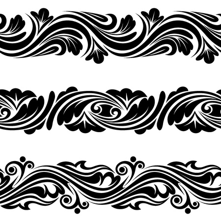 Set of vintage horizontal seamless vignettes  Vector illustration