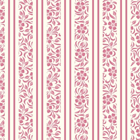 Seamless background with floral pattern and stripes  Vector illustration  Vector