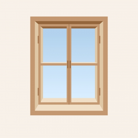 window view: Wooden closed window  Vector illustration  Illustration
