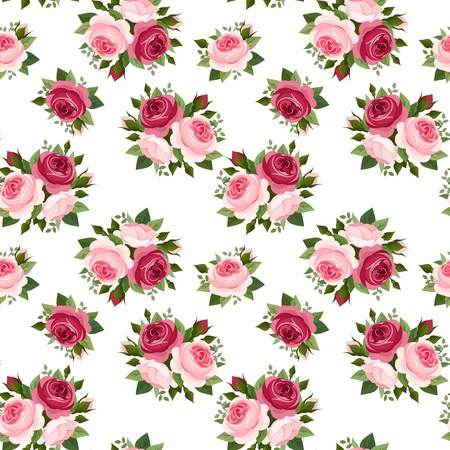 english tea: Seamless pattern with red and pink roses  Vector illustration