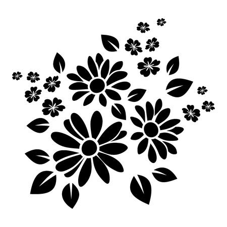 monochroom: Zwart silhouet van bloemen Vector illustratie