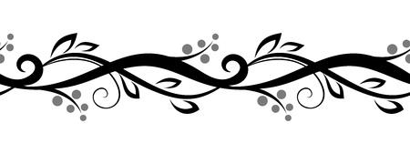 Horizontal seamless floral vignette  Vector illustration  Ilustrace