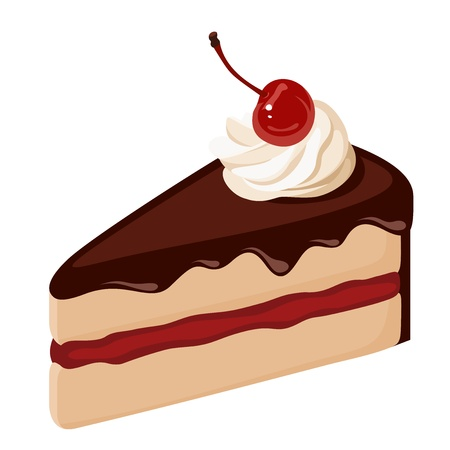 Piece of chocolate cake with cream and cherry  Vector illustration