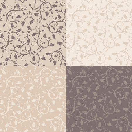 Set of four vintage seamless patterns with rose buds  Vector illustration  Vector