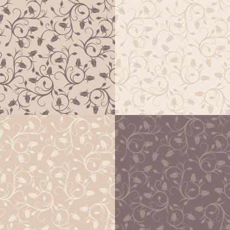 Set of four vintage seamless patterns with rose buds Vector illustration