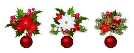 festive pine cones: Christmas decoration elements Vector illustration
