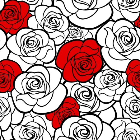 red rose: Seamless pattern with roses contours  Vector illustration