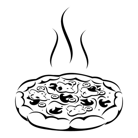 outline drawing: Pizza  Vector black silhouette