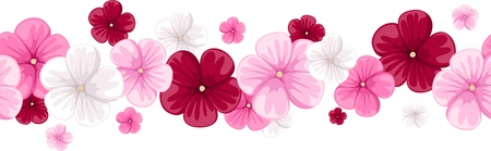 beautiful red hibiscus flower: Horizontal seamless background with mallow flowers  Vector illustration