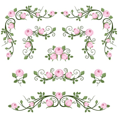 Vintage calligraphic vignettes with pink roses  Vector illustration