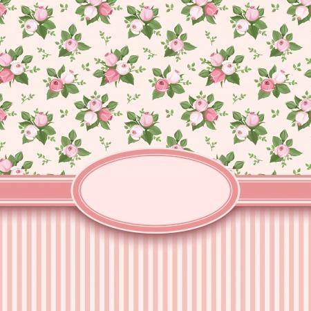 バラとストライプのベクトル イラスト ビンテージ カード