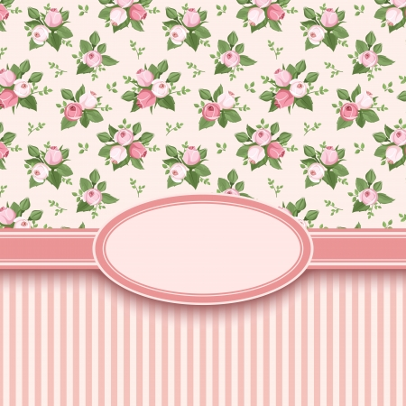 vintage: Vintage card with roses and stripes  Vector illustration