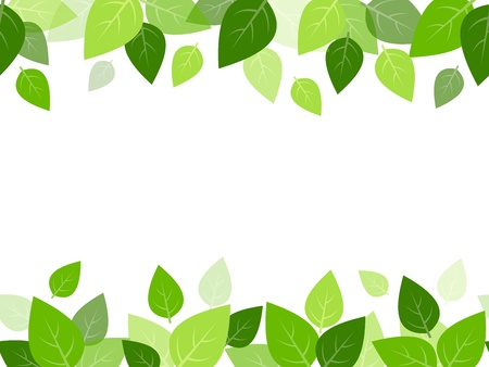 Horizontal seamless background with green leaves  Vector Reklamní fotografie - 21219352
