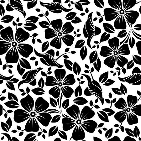 bedclothes: Seamless pattern with flowers and leaves  Vector illustration  Illustration