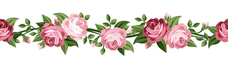 green leaves border: Horizontal seamless background with roses  Vector illustration